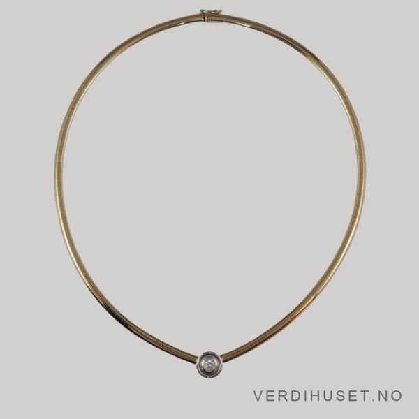 Bilde av Halssmykke i 14 K gull med blank sten
