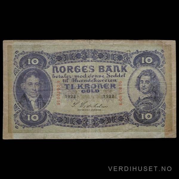 Bilde av 10 Kr 1922 Kv 1- (K.0870955) -SS