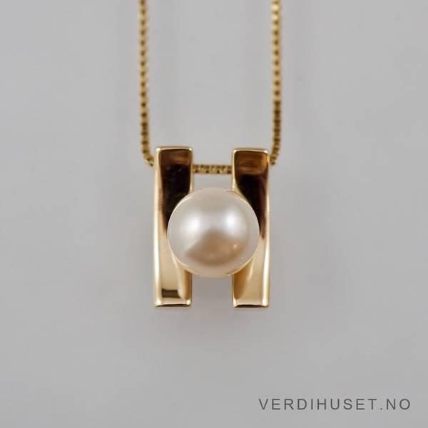 Bilde av Halssmykke i 14 K gull med perle