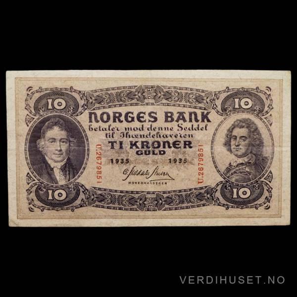Bilde av 10 Kr 1935 U Kv s 1+ (U.2679851)