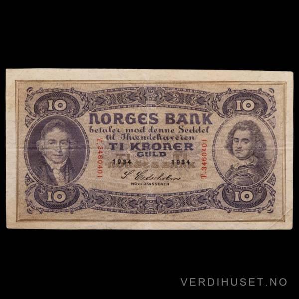 Bilde av 10 Kr 1934 T Kv s1+ (T.3460401)