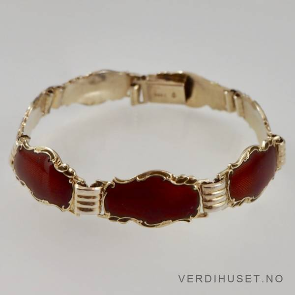 Bilde av Armbånd i forgylt sølv med rød emalje