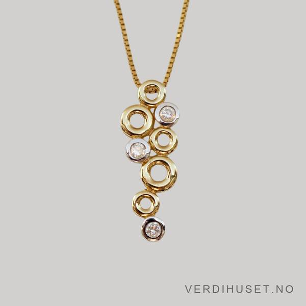 Bilde av Anheng i 14 K gull med blanke stener