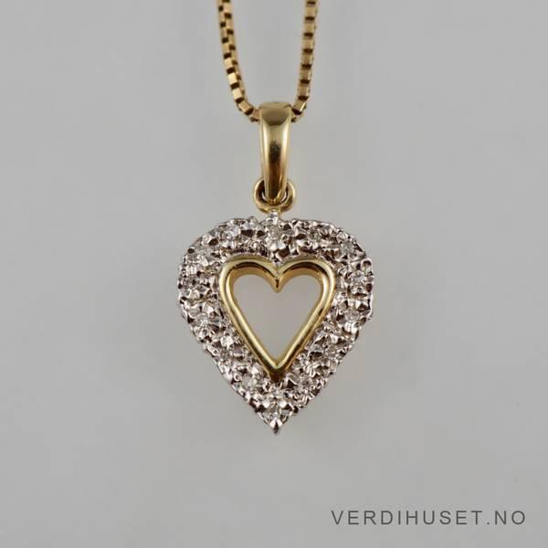 Bilde av Anheng/Hjerte i 14 K hvitt og gult gull med