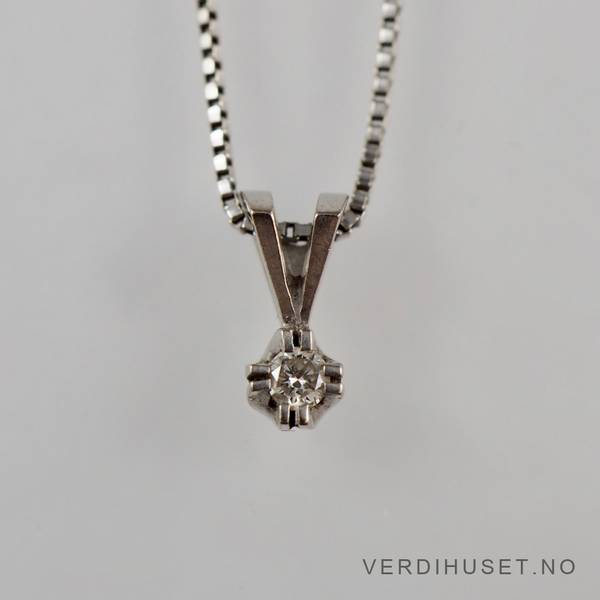 Bilde av Enstens diamantanheng i 14 K hvitt gull