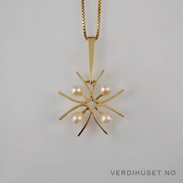Bilde av Anheng i 14 K gull med perler