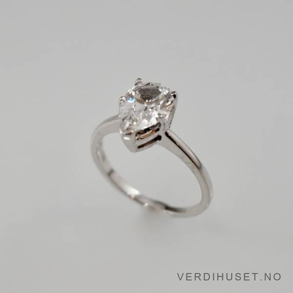 Bilde av Ring i 14 K hvitt gull med blank sten