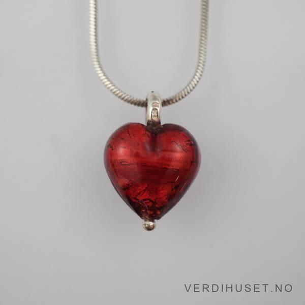 Bilde av Anheng/Hjerte i sølv og glass