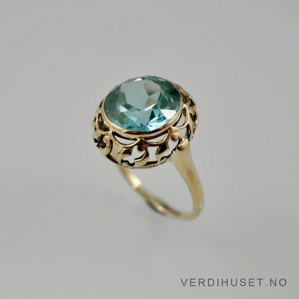 Bilde av Ring i 14 K gull med turkis sten