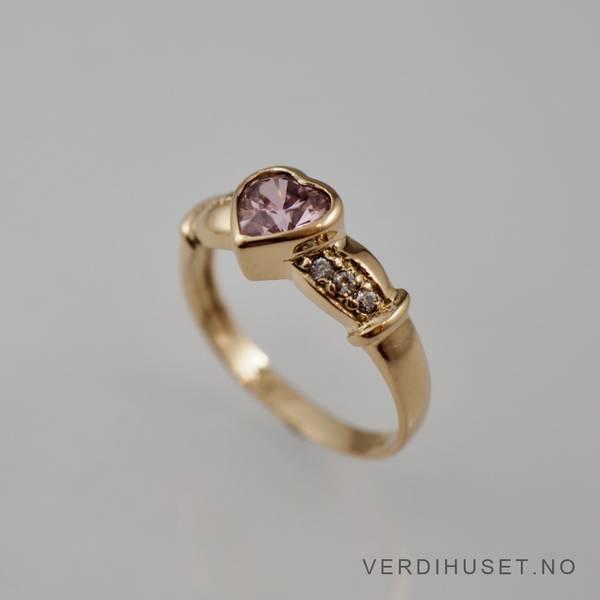 Bilde av Ring i 14 K gull med rosa og blanke stener