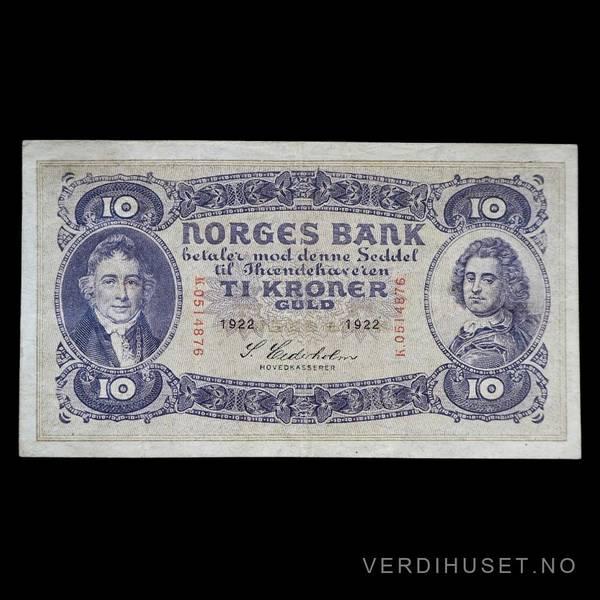 Bilde av 10 Kr 1922 K Kv g1 (K.0514876) - SS