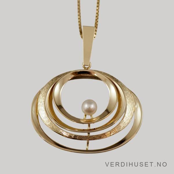 Bilde av Anheng i 14 K gull med perle