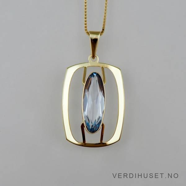 Bilde av Anheng i 14 K gull med blå sten