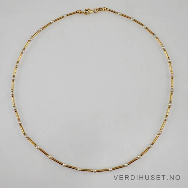 Bilde av Halssmykke i 14 K gull med perler