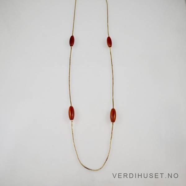 Bilde av Halssmykke i 14 K gull med rød-brune stener