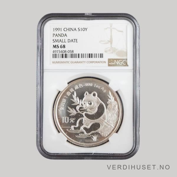 Bilde av 10 Yuan 1991 MS 68 - Panda