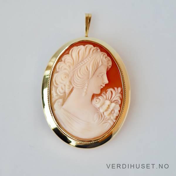 Bilde av Brosje/Anheng i 14 K gull med kamee