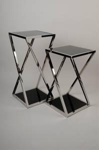 Bilde av Pidestall i rustfritt stål/sort glass