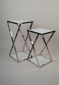 Bilde av Pidestall i rustfritt stål/ hvit glass