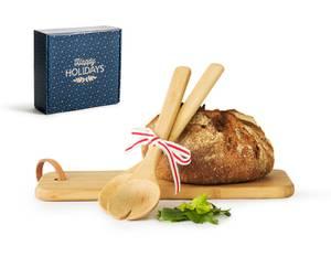Bilde av serveringsfjøl og serveringsbestikk i bambus