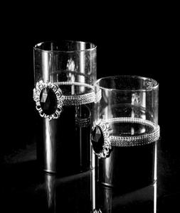 Bilde av Telysholder, svart m/klart glass-liten