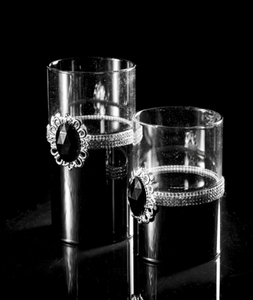 Bilde av Telysholder, svart m/klart glass-stor