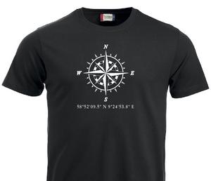 Bilde av T-shirt, Kompass/breddegrad