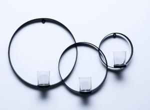 Bilde av Veggstake jern ringer m/glass-m