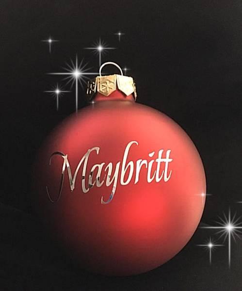 Julekule m/navn - rød MATT- rød GLOSSY