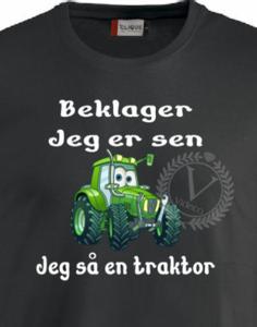 Bilde av T-shirt til barn - sort, Beklager  jeg er sen m/traktor