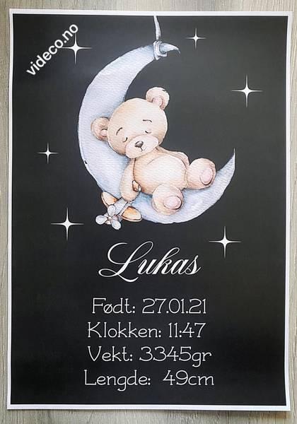 Plakat, sort m/bilde og fødselsinfo
