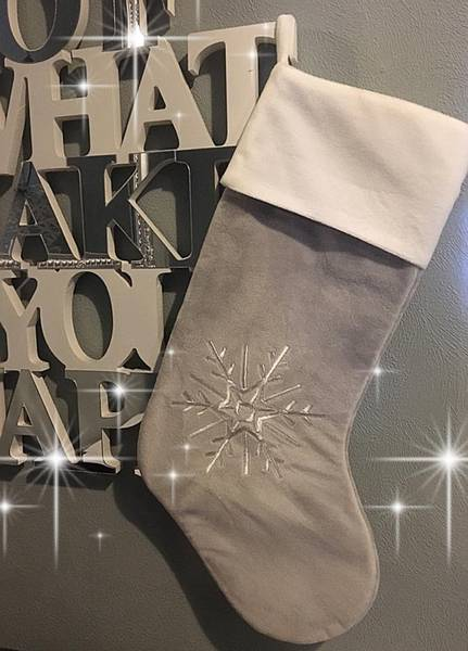 Julestrømpe, grå & hvit