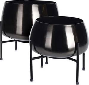 Bilde av Pottesett i metall, sort - 2 deler