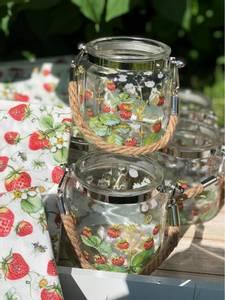 Bilde av Lysglass med jordbær motiv