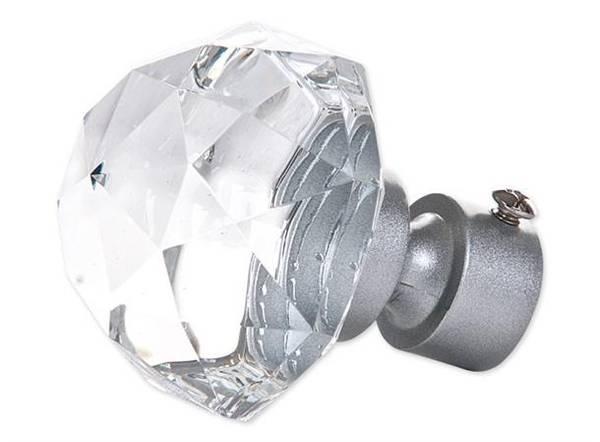 Endestykke diamant stor KLAR/SØLV   16/19mm/ Pakke på 2 stk