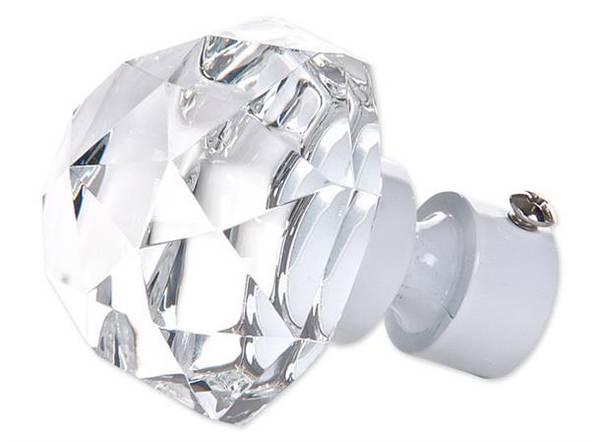 Endestykke diamant stor KLAR/HVIT   16/19mm/ Pakke på 2 stk