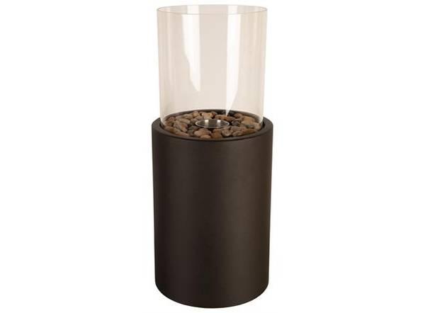 Bordpeis sort metall rundt glass 21x49cm
