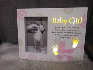 Bilde av Babyramme jente HVIT / ROSA |