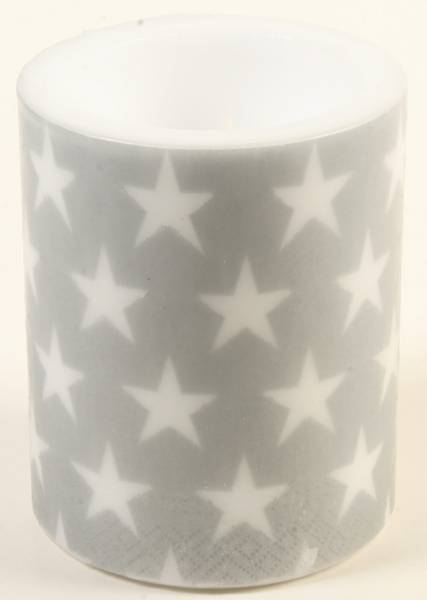 STEARINLYS  Sølv med hvite stjerner 10x13 cm