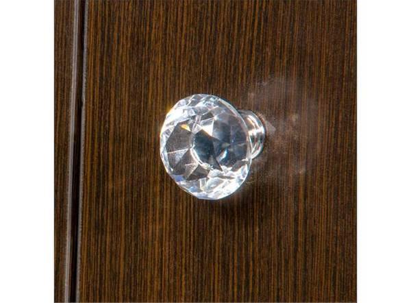 Dørknott / knotter krystall sølv 30 mm krystall glass klar / søl