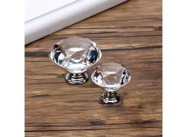 Dørknott / knotter krystall sølv 40 mm krystall glass klar / søl