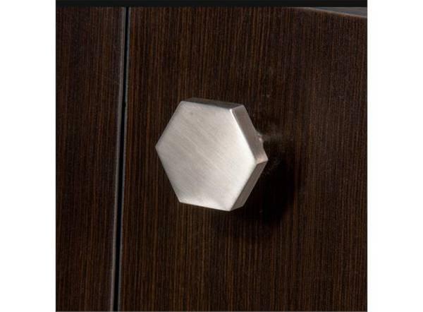 Dørknott / knotter stål 43 mm hexagon børstet stål