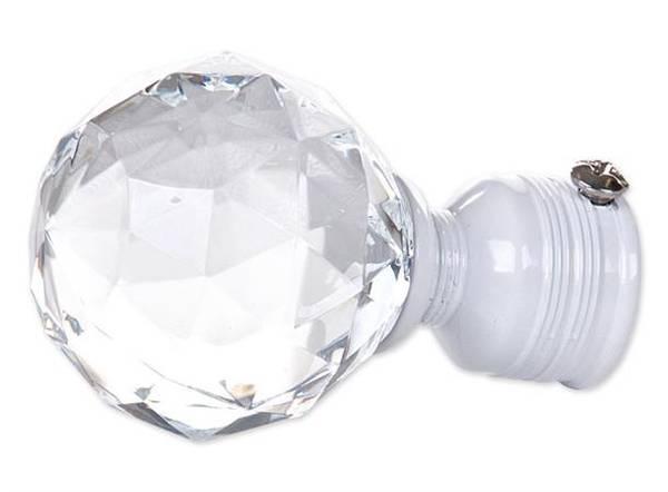 Endestykke diamant liten KLAR/HVIT   16/19mm/ Pakke på 2 stk