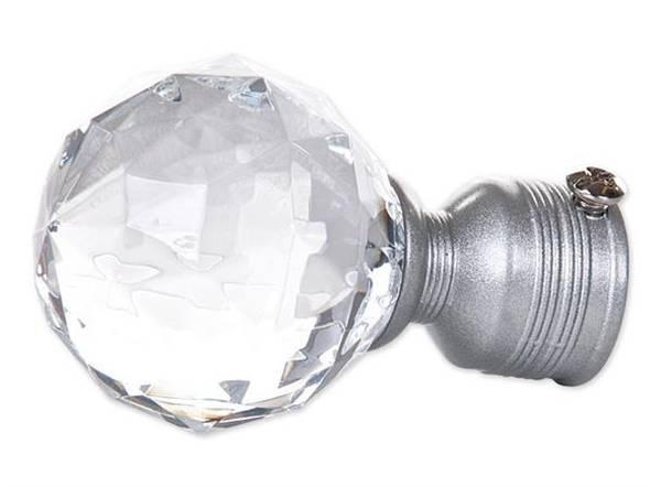 Endestykke diamant liten KLAR/SØLV | 16/19mm/ Pakke på 2 stk