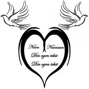 Bilde av Hjerte, fugler med tekst
