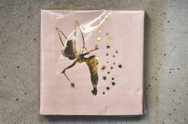 Serviett Tingeling rosa m gull 25x25cm