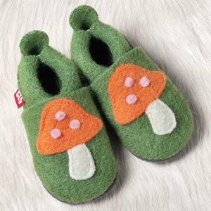 Bilde av Pololo tøfler ull grønn med sopp
