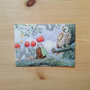 Bilde av Postkort Elsa Beskow nissemor og uglen