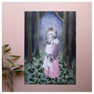 Bilde av Kajsa Wallin art print A4 Glade of the Foxes