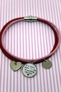 Bilde av Be kind - lærarmbånd med magnetisk lås_rosa/rød